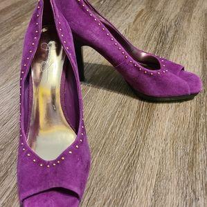 Jessica Simpson Purple Gold Beaded Peeptoe Heels